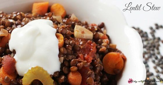 I love lentil recipes! This is an easy, healthy recipe for lentil stew, a great meatless comfort food for fall. A vegetarian recipe that will still please the most committed meat eaters