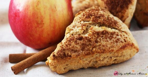 Mmm, apple butter scones. Cinnamon, apple, and caramel flavours in a soft, crumbly biscuit topped with a crunchy cinnamon-sugar coating. A delicious fall recipe you need to try.