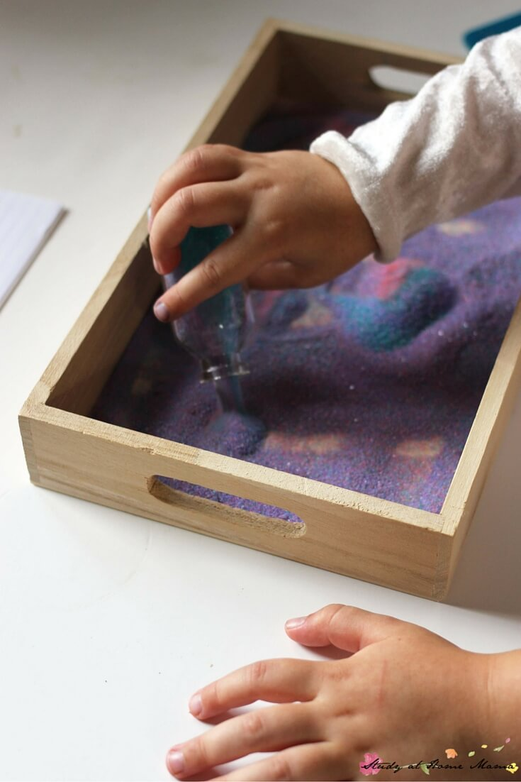 Where the Wild Things Are Book Activity: setting up the Montessori sand tray