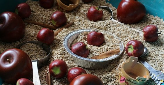 Apple Pie Sensory Bin - the perfect way to welcome fall. Full of fall scents and textures, and plenty of learning opportunities, too!