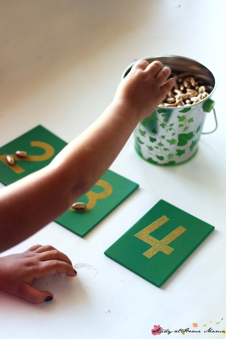 Sweet magic bean counting activity inspired by Jack and the Beanstalk - and what to consider when using themed learning materials