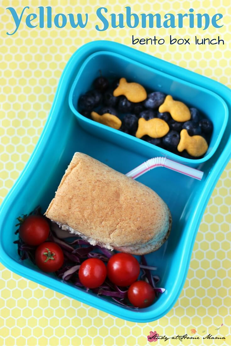 Yellow Submarine-inspired Bento Lunch Box Idea. A fun and easy way to present your child's lunch and expose them to new foods