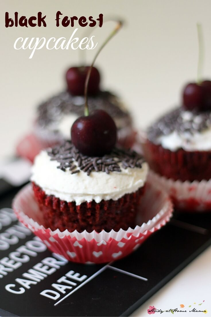 A fun twist on black forest cake - these black forest cupcakes are full of real, chocolate and cherry flavour with a homemade vanilla whipped cream topping. Yum!