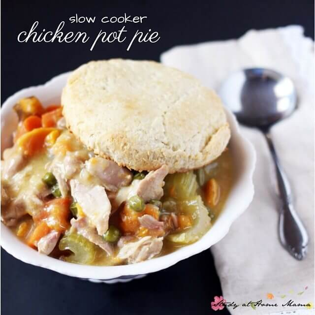 Slow cooker chicken pot pie - an easy, healthy recipe for this comfort food classic. Topped with homemade buttermilk biscuits and ready in less than 4 hours
