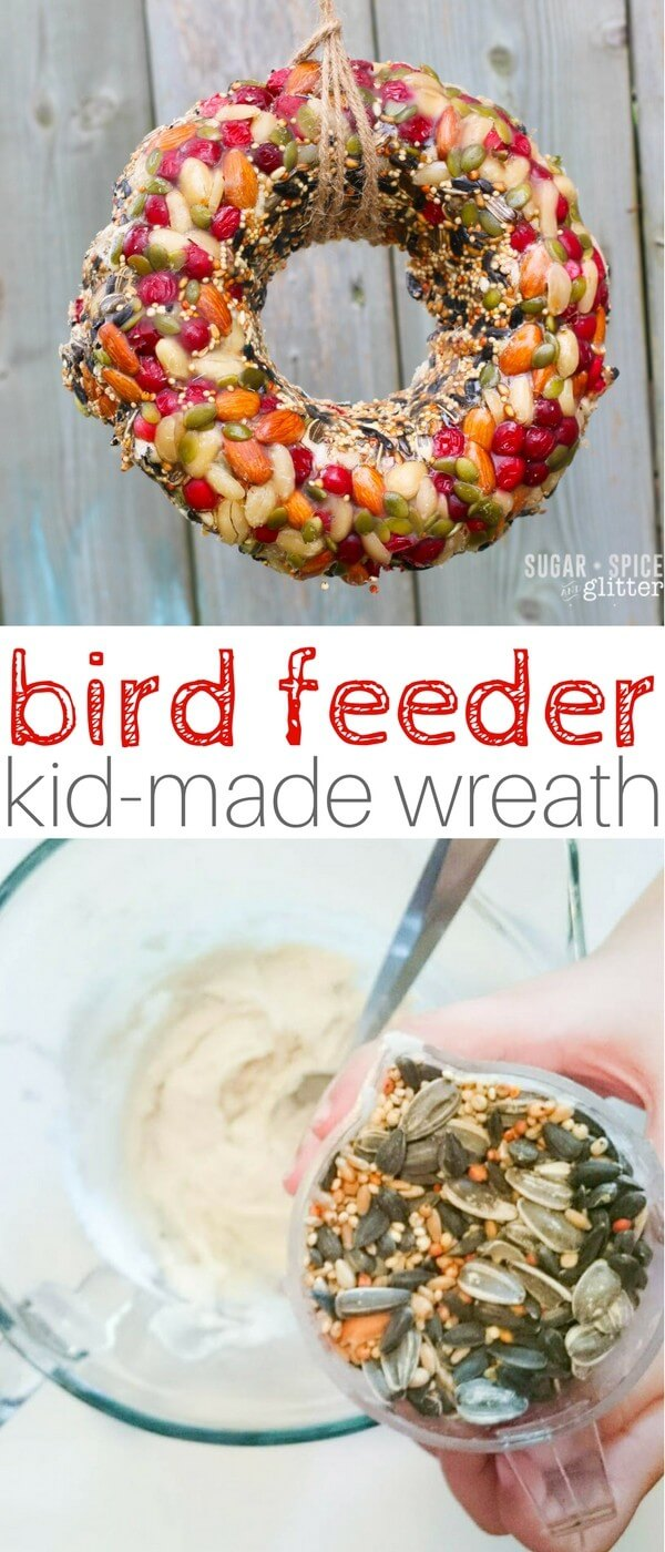 This easy bird feeder wreath is the perfect homemade gift kids can make to bring the birds to the yard