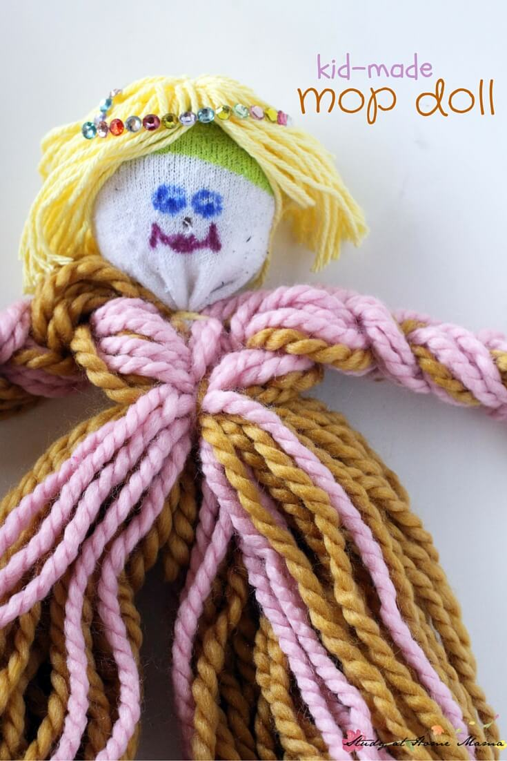 Oh, I just love this Kid-made Mop Doll - an easy kids' craft idea for a homemade toy that your child will love and feel proud of creating. There are so many ways to customize this - your child could make a whole set!