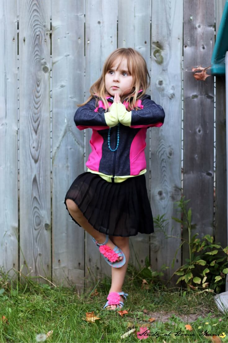 How to do tree pose for kids safely, as part of a fun Fall Yoga Sequence for Kids