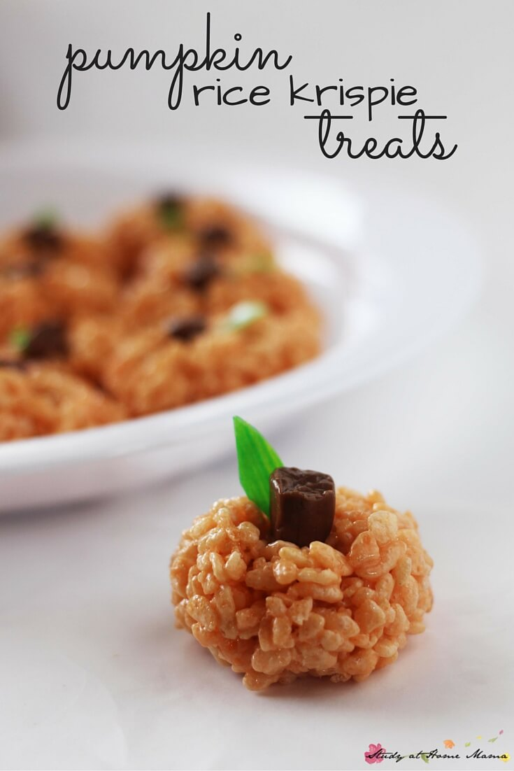 Pumpkin Rice Krispie Treats - a fun classroom snack for Halloween, and it's peanut-free! This is an easy snack for kids to help make, and can be made into Apple Rice Krispie treats, or even Jack O'Lantern Rice Krispie Treats.