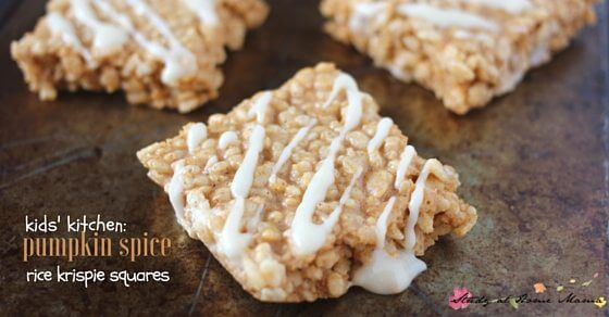 An easy kids' kitchen recipe, these pumpkin spice rice krispie treats can be ready in less than 10 minutes, made with real pumpkin & a cream cheese drizzle