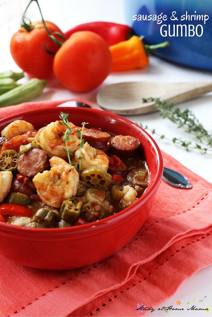 Easy healthy recipe for sausage & shrimp gumbo - a flavorful and comforting southern food classic. If you can't make it to New Orleans, this recipe will bring one of the best New Orlean's dishes to you. Just a bit of heat, but layers and layers of flavour with that amazing broth, smoked andouille sausage, fresh shrimp, and perfectly cooked vegetables - pin this recipe for when you need a bit of southern comfort!