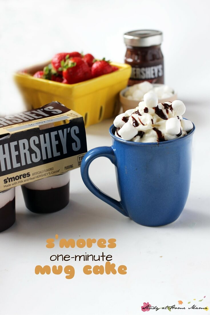 One-Minutes S'mores Lava Mug Cake - so much deliciousness in one mug! Cake, pudding, and s'mores, oh my. The perfect one-serving dessert