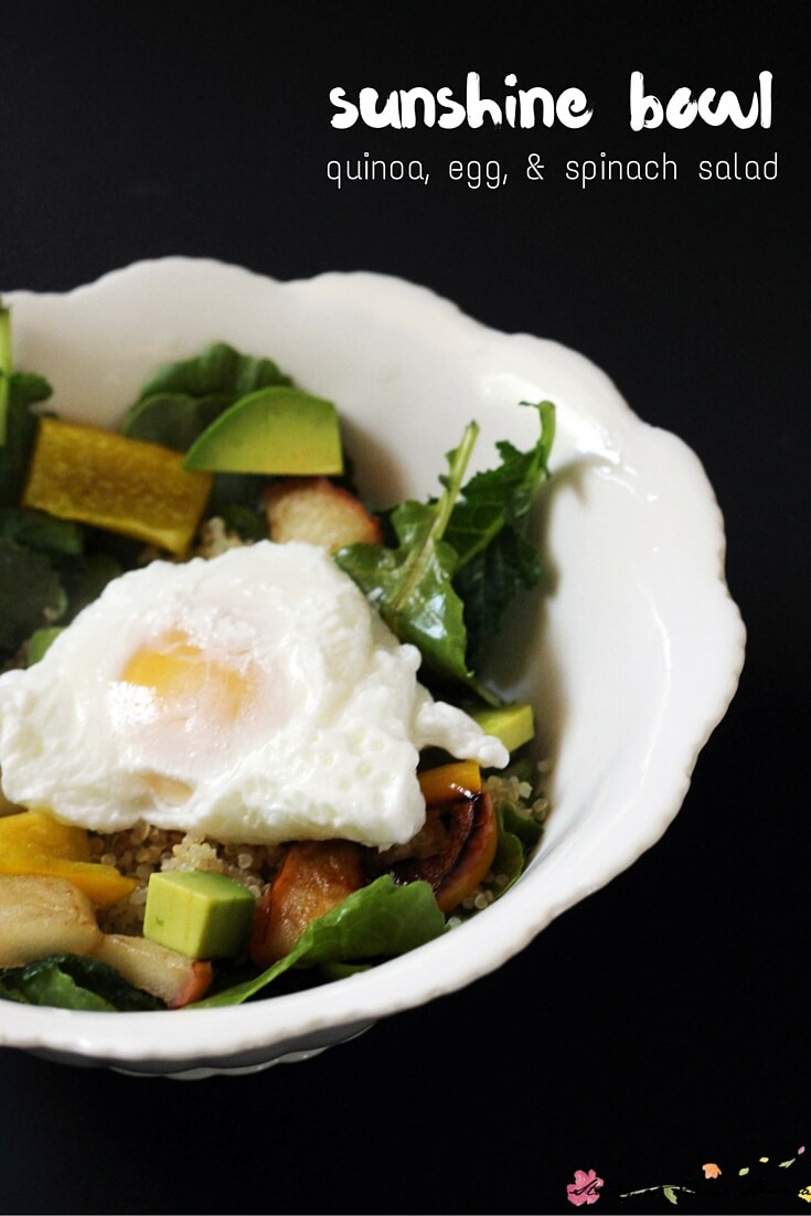 A sunshine bowl or buddha bowl is a quick and filling salad bursting with flavour and full of protein. Perfectly cooked quinoa and a poached egg top this bowl of sunshine