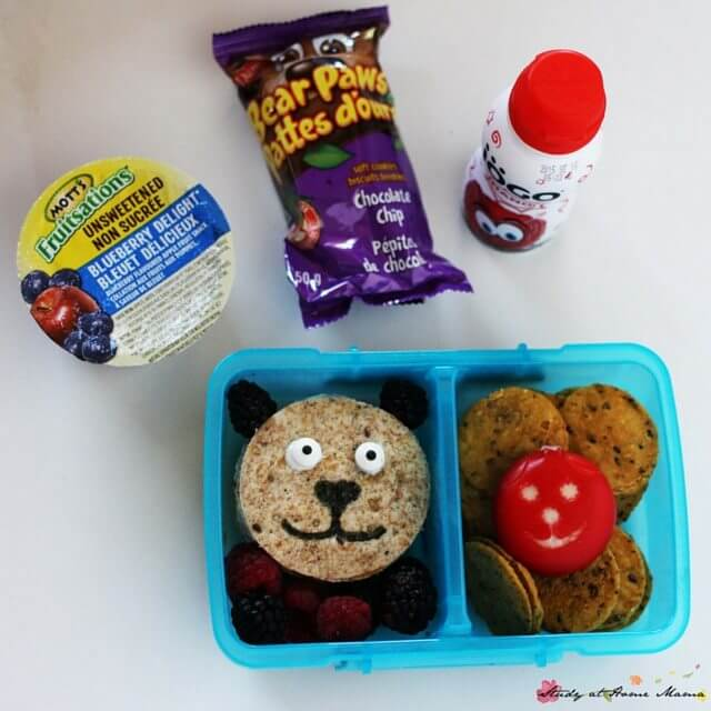Bear Lunch Box idea - complete with bear-themed snacks. An easy and realistic themed lunch for kids