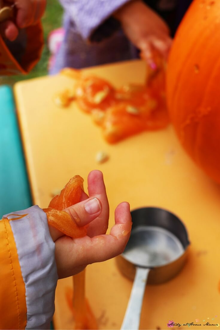 Cool to the touch, and so inviting to play with, pumpkin slime is one of our favourite sensory play materials.