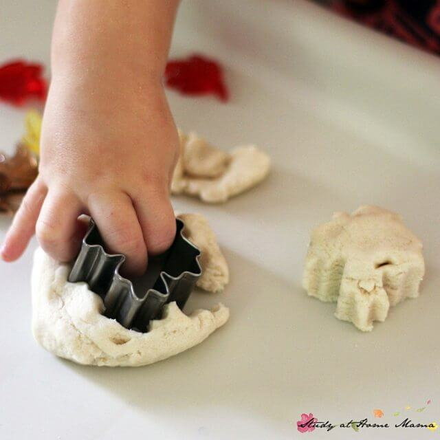Fall leaves play dough invitation - the perfect homemade play dough for fall! Use real and fake leaves to explore the properties of leaves - their shapes, textures, colours, and more. Create patterns, practice counting, and develop finger strength for writing.
