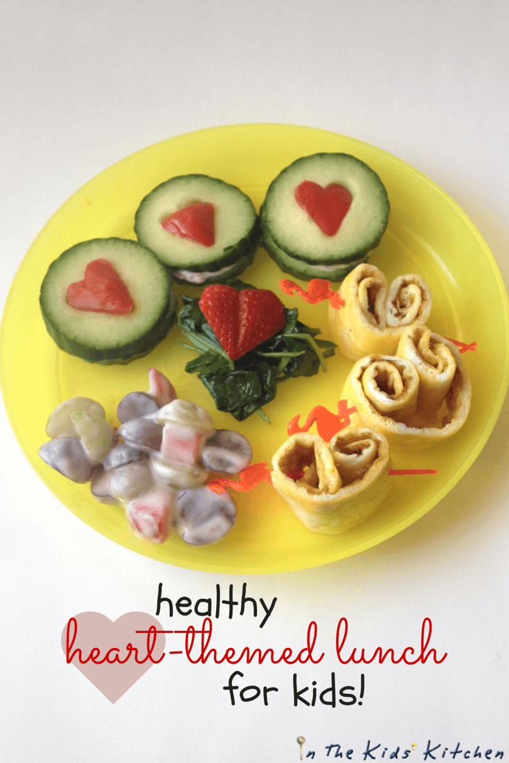 Healthy Heart-themed lunch for kids, the perfect healthy Valentine's Day food for kids