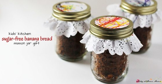 Kids' Kitchen Sugar-Free Banana Bread Mason Jar Gift - a sweet homemade gift that kids can make