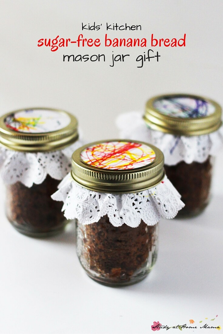 Kids' Kitchen Sugar-Free Banana Bread Mason Jar Gift - a sweet homemade gift that kids can make. Perfect for a mixed age group or a classroom project. Banana Bread in a Jar is the perfect kid-made Christmas gift.