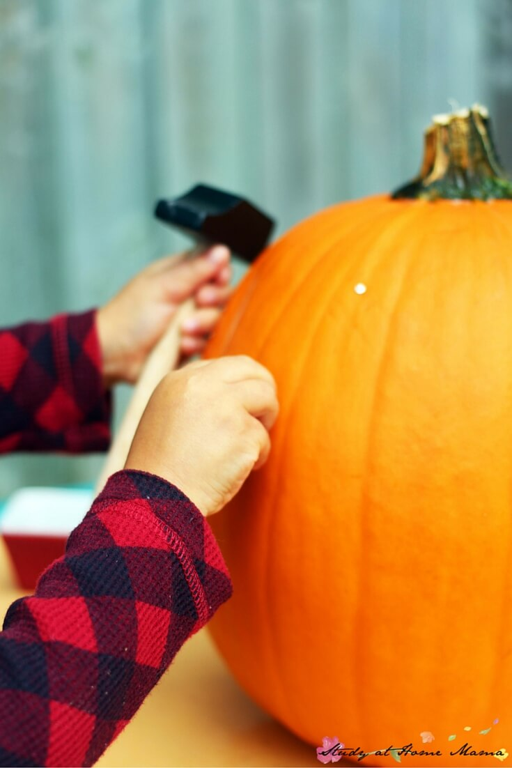 "Such great ideas for how to let children use manual drills, and small hammer and nail sets, to ""carve"" a pumpkin"