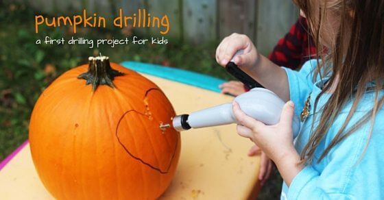 Pumpkin Drilling, a fun and creative way to carve a pumpkin - and a safe first drilling project for kids!