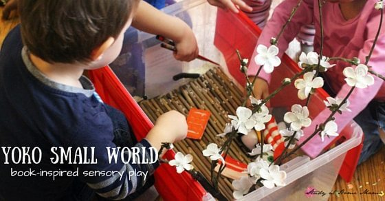 Yoko Small World Sensory Play - a fun sensory bin inspired by Yoko the book