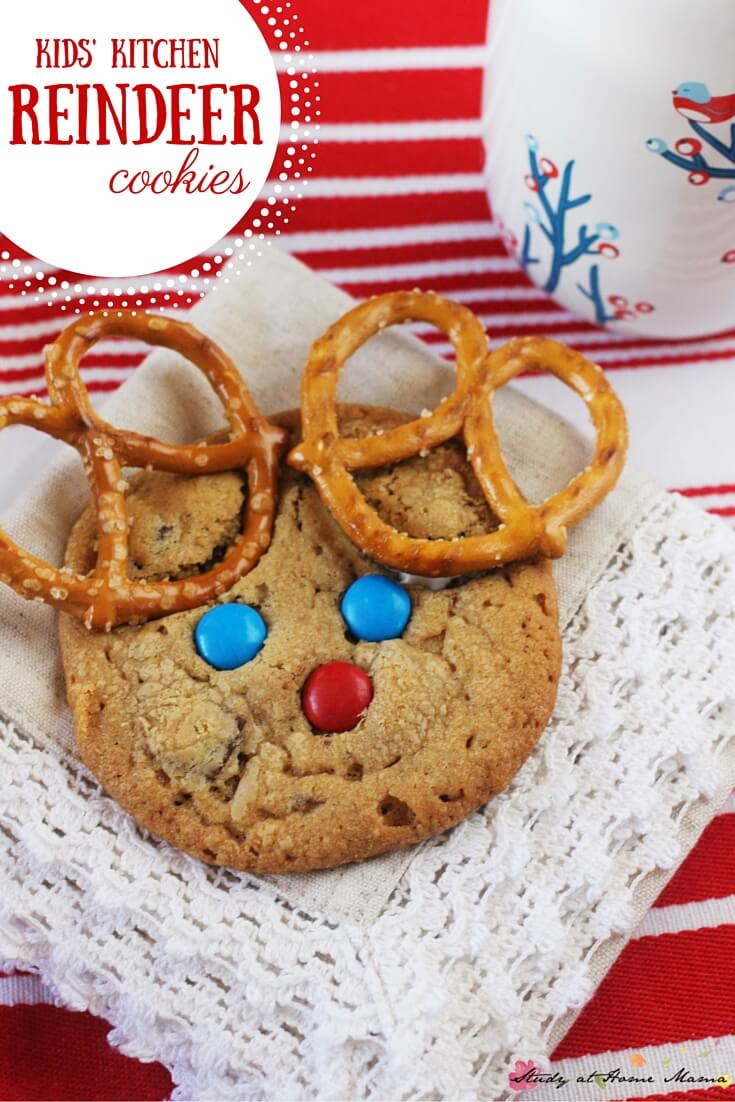 A fun Christmas cookies kids can make, these reindeer cookies made with pretzels and M&Ms are a fun Christmas snack recipe for the kids' kitchen.