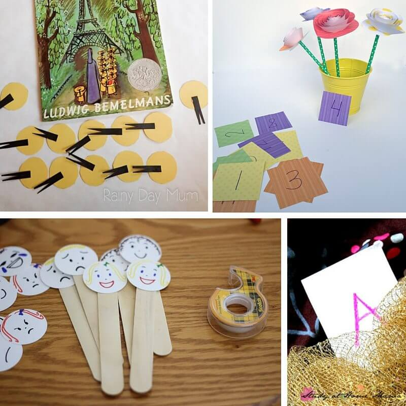 Math and name recognition activities inspired by Madeline