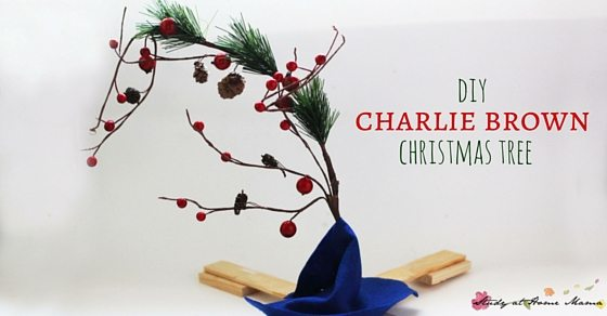 DIY Charlie Brown Christmas Tree - a fun kids' craft idea for the holidays. Watch the Peanuts Christmas Special and then make this cute Christmas tree craft to decorate your home
