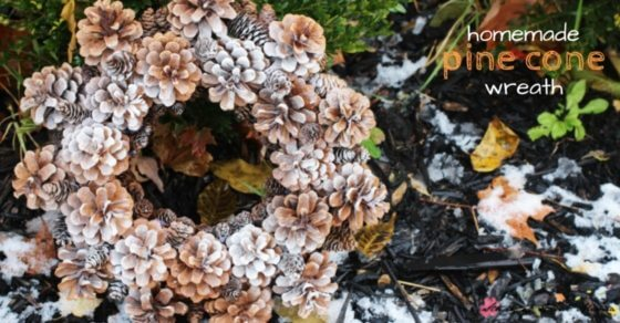 Kid-made Homemade Pine Cone Wreath - gorgeous winter home decor using naturally sourced materials