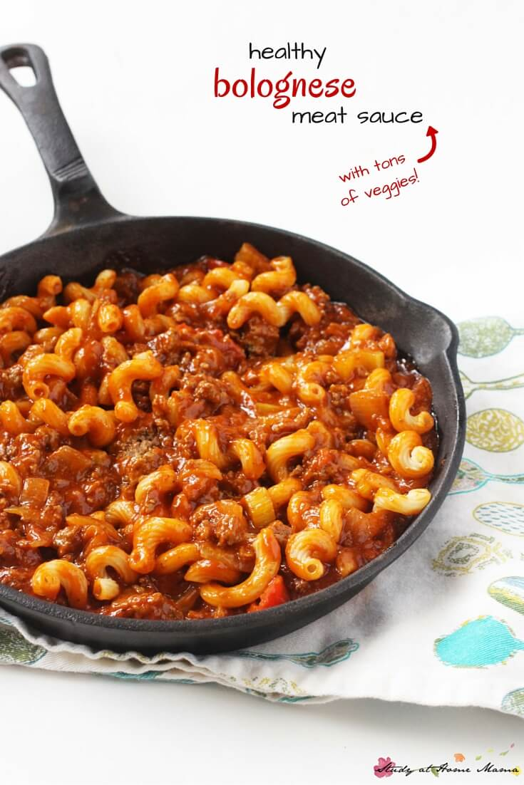 Healthy Pasta Sauce Recipe for Homemade Bolognese Meat Sauce, made with tons of veggies so while the kids are excited to be eating pasta, you can be happy that they're enjoying a full meal