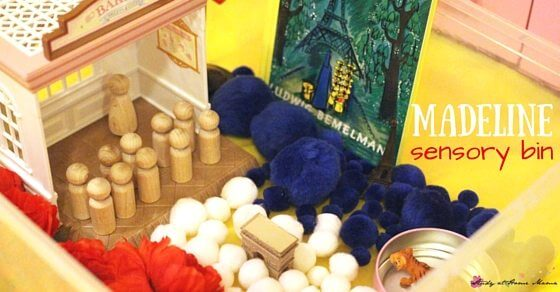 Madeline sensory bin and small world set-up. Read Madeline to your child as they engage in either of these fun sensory activities for kids, learning about French culture and incorporating a bit of math into the fun.