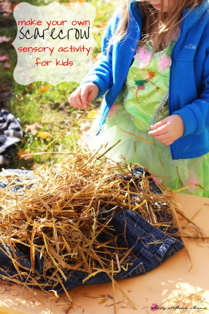Make your own scarecrow sensory activity for kids - a classic fall children's activity that has enormous sensory benefits, and is also just plain fun!