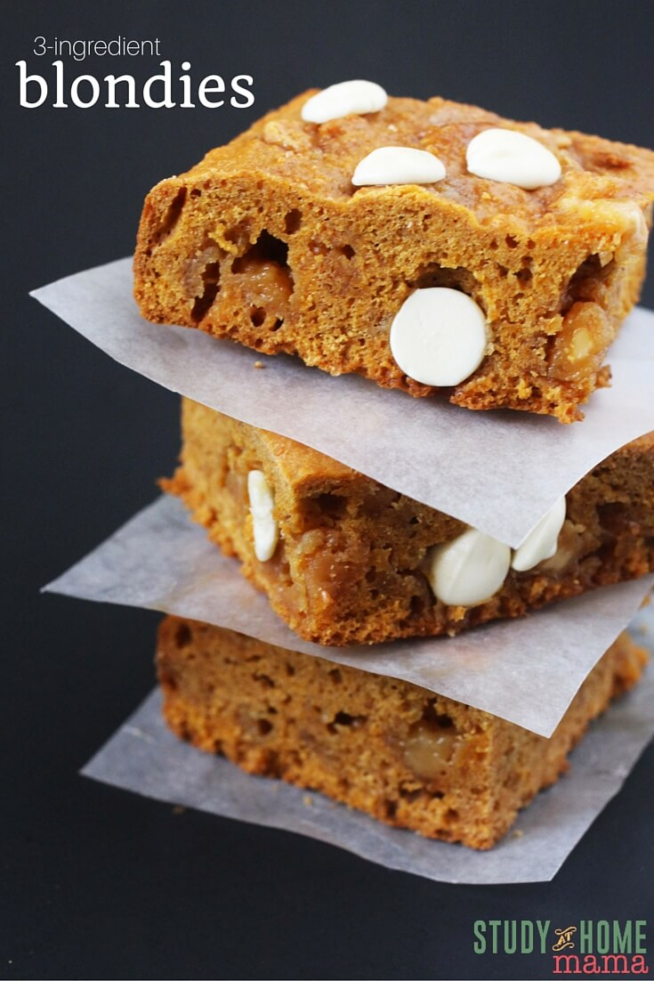 3-ingredient Dessert Recipe for Blondie Squares. An easy dessert kids can help make - or perfect for a last-minute dessert recipe, ready in 15 minutes