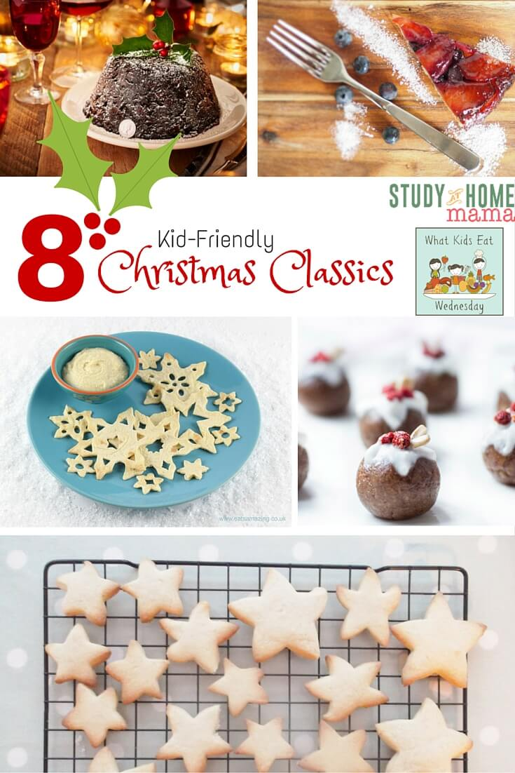 "8 Kid-friendly Christmas Classic Recipes - every week we host a party and feature the best of what the previous week's guests ""brought to the party."" This week, I'm featuring 8 Christmas Classics that you and the kids will love - everything from Snowflake tortillas to a healthy twist on Christmas Pudding!"