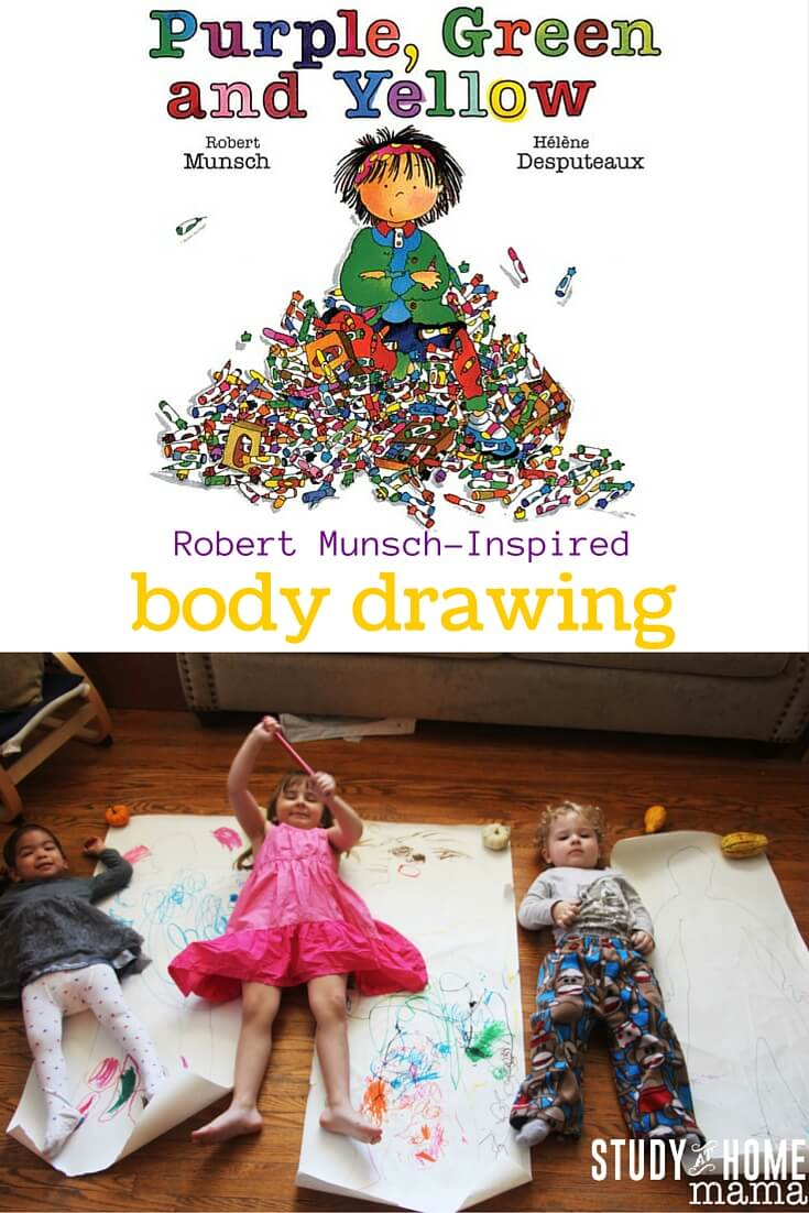 "Robert Munsch-Inspired Body Drawings after reading the classic ""Purple, Green and Yellow"" - let children draw on their bodies! Their body outlines that is."