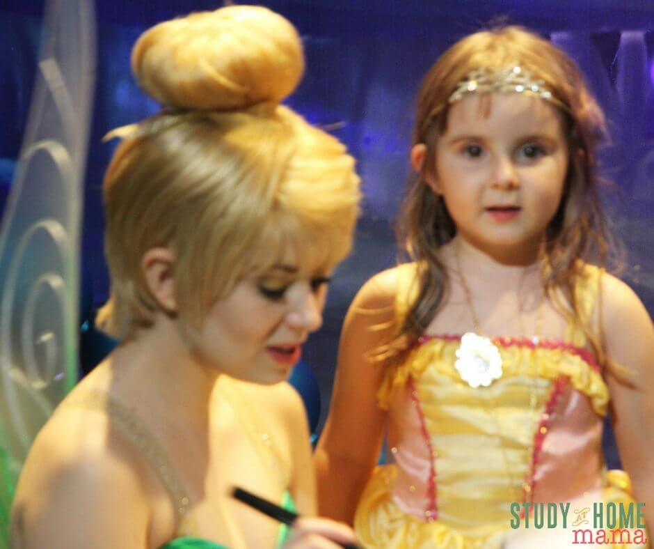 Miss G meeting Tinkerbell at Disney World
