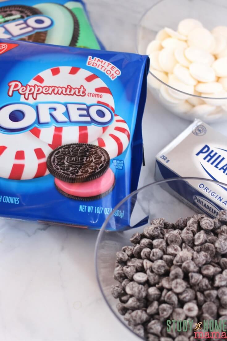 Ingredients needed to make OREO cookie balls, or OREO snowmen!