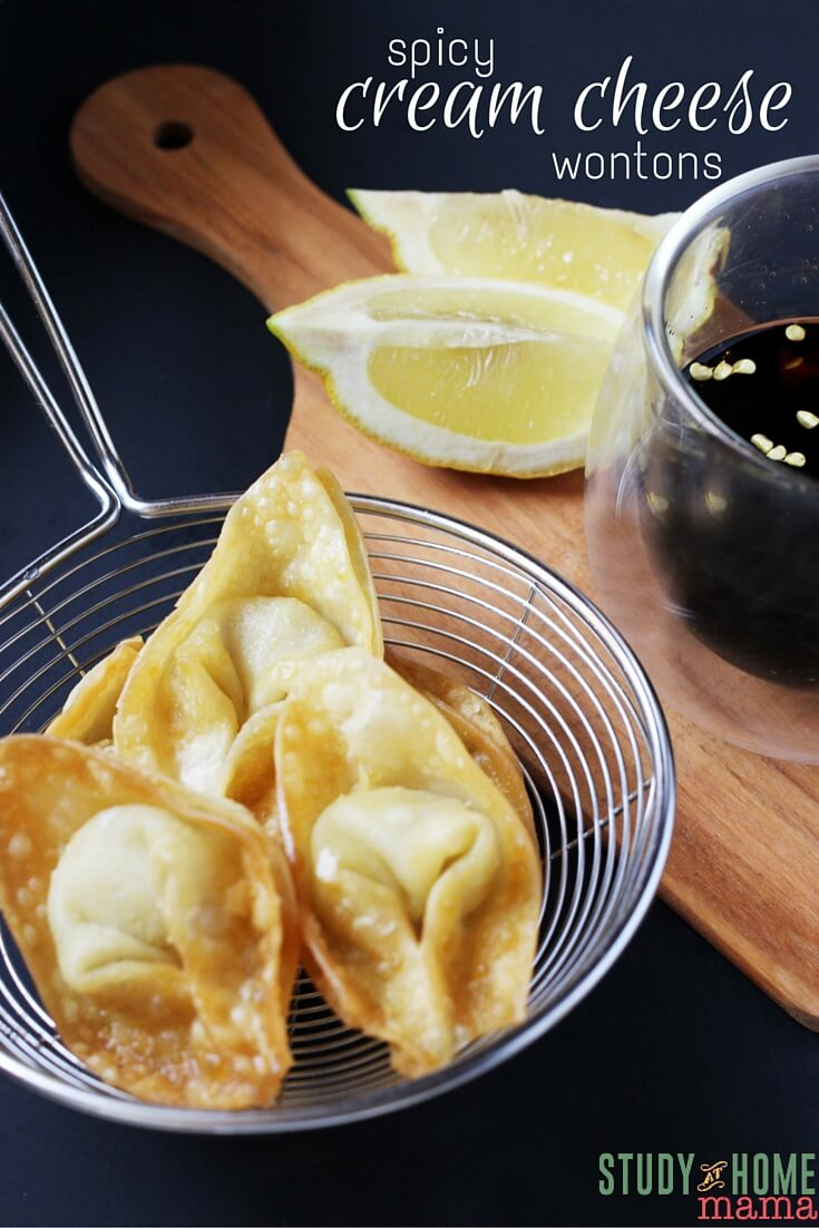 These Spicy Cream Cheese Wontons are an easy appetizer your guests will love! Sriracha is adds just enough spicy for a flavor explosion without being overpowering. Warm wonton dip is a must for this yummy cream cheese based side.