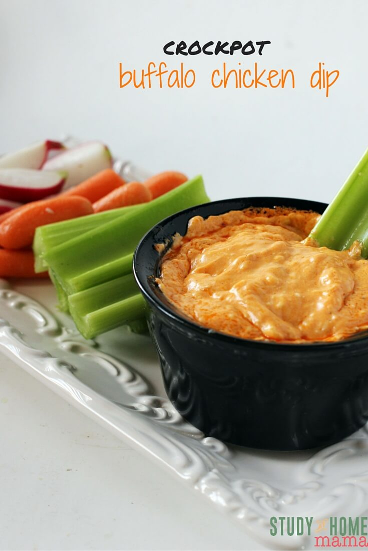 The perfect Crockpot Buffalo Chicken Dip Recipe for last-minute guests or game day party food. Serve with chips or vegetables, either way - this is one delicious appetizer recipe