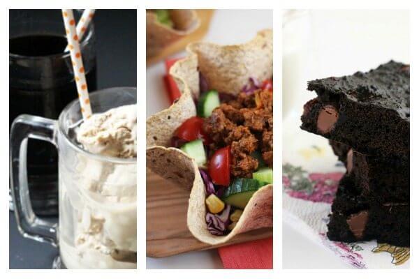 Game Day Meal Plan - rootbeer float ice cream, healthy taco salad, 3-ingredient brownies
