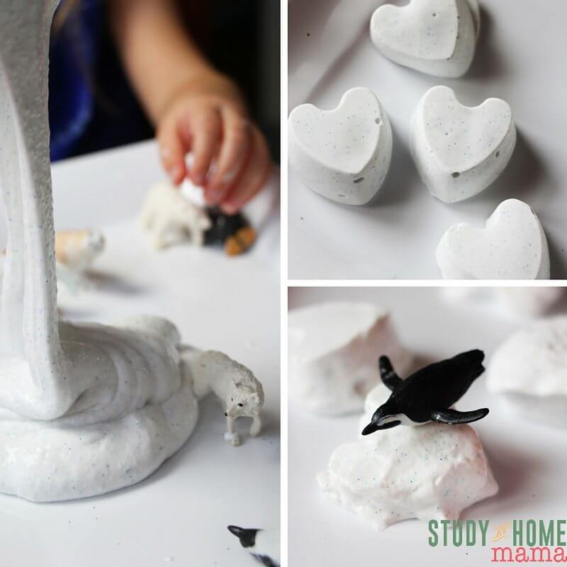 The different forms of Frozen Slime - a fun twist on a classic sensory play material