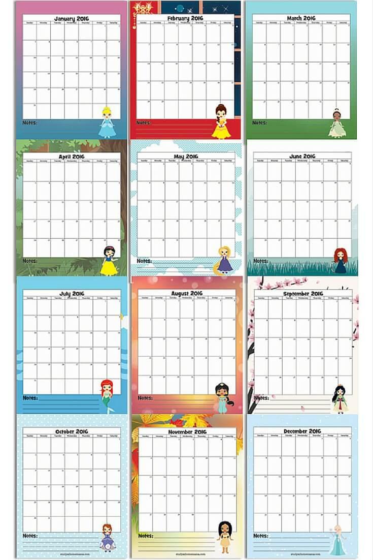 Preview of the free printable Disney Princess calendar