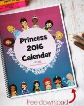 2016 Princess Calendar (Free Printable)