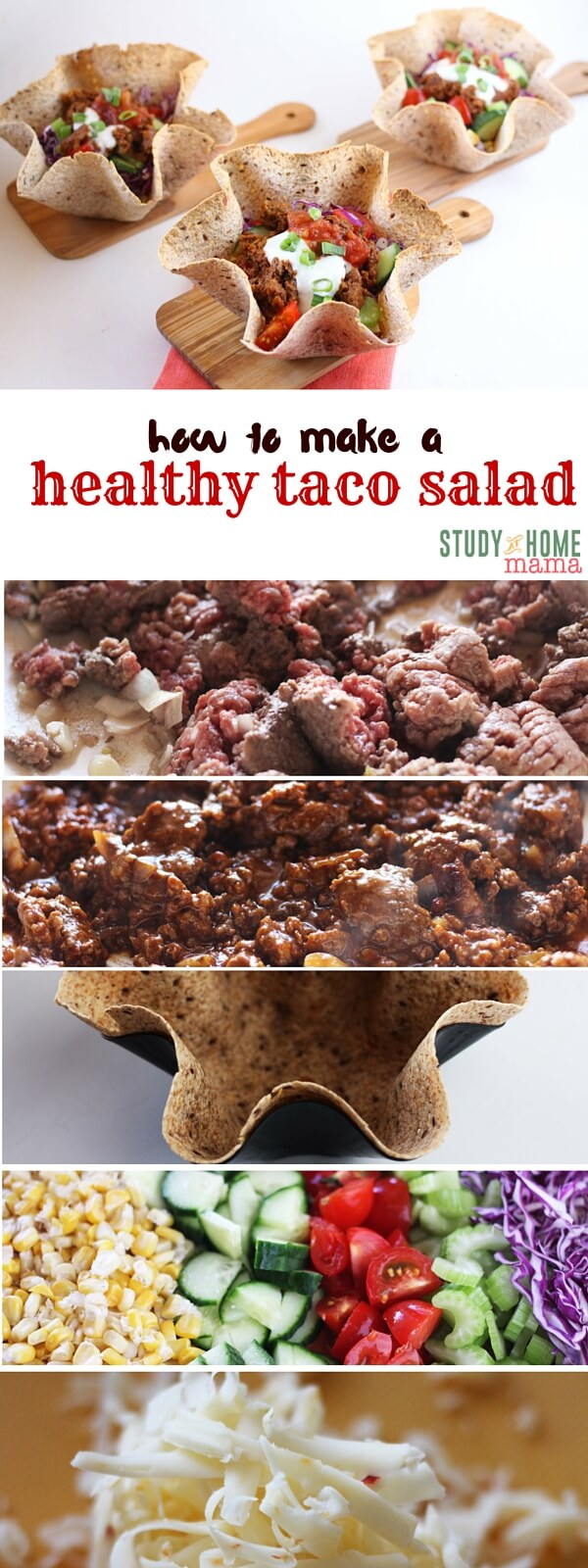 How to Make a Healthy Taco Salad - tips like how to season beef perfectly without salt, and healthy swaps like making your own crunchy taco bowl in less than 10 minutes. This healthy taco salad is a healthy meal idea that you can feel great about feeding to your family