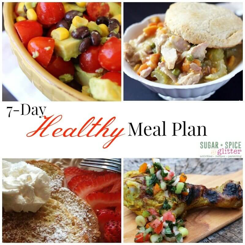 7 Day Healthy Meal Plan 8 on Sugar, Spice & Glitter will make your life easier. Find savory recipes perfect for winter months. Complete recipes linked and free grocery list template is attached!