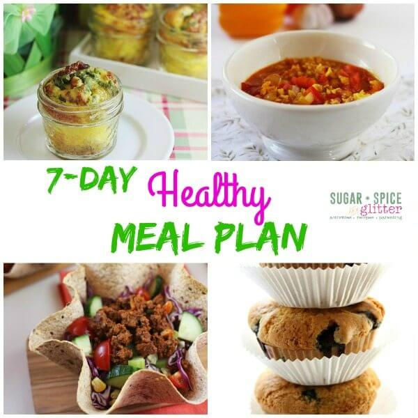 Healthy living takes work! Here's another edition to the healthy meal plan series on Sugar, Spice & Glitter. Find delicious meal plans that are packed full of flavor and free printable grocery list and meal list. Keep a healthy family without all the fuss!