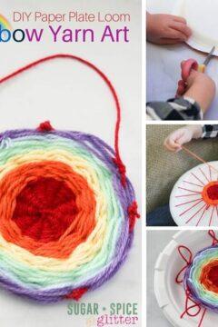 DIY Paper Plate Loom: Rainbow Yarn Art