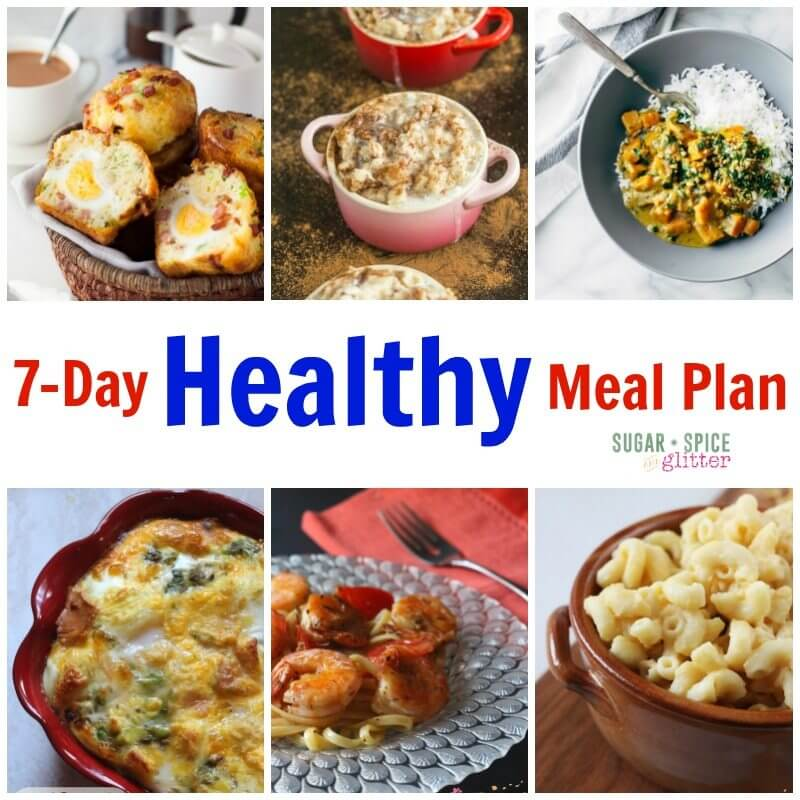Need a meal plan for a busy week? Check out this 7-Day Healthy Meal Plan on Sugar, Spice & Glitter for easy meal planning. Healthy recipes are apart of family life and trying new recipes are a lot of fun! Don't miss out on free printable meal plan and grocery list and make meal planning simple.