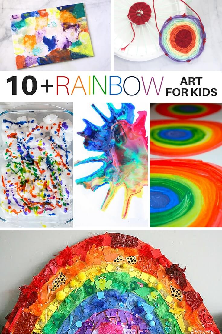 RAINBOW ART FOR KIDS - 10 awesome rainbow art projects for kids, including rainbow process art, rainbow science mixed with art, and a few collaborative ideas for groups of kids! So many wonderful ideas in this collection of rainbow art ideas for kids