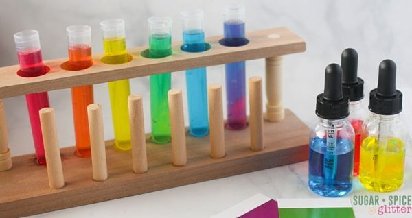 This color mixing lab is a great mixed ages activity for teaching the basics of science experiments for kids